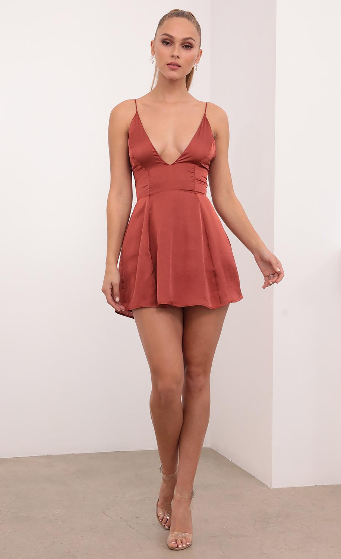 Olivia Satin Mini Dress In Rust