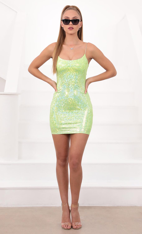 Glisten Bodycon Dress In Metallic Lime Green