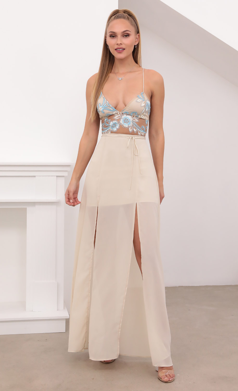 Lovable Gold Lace Maxi Dress in Sand