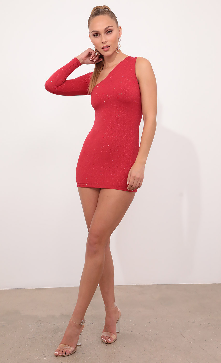 Lily Cutout One Shoulder Dress in Red Crystals