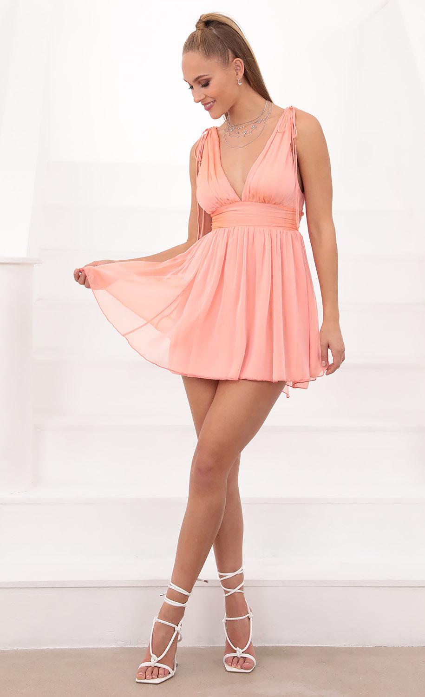 Ysabel Salmon Chiffon Dress