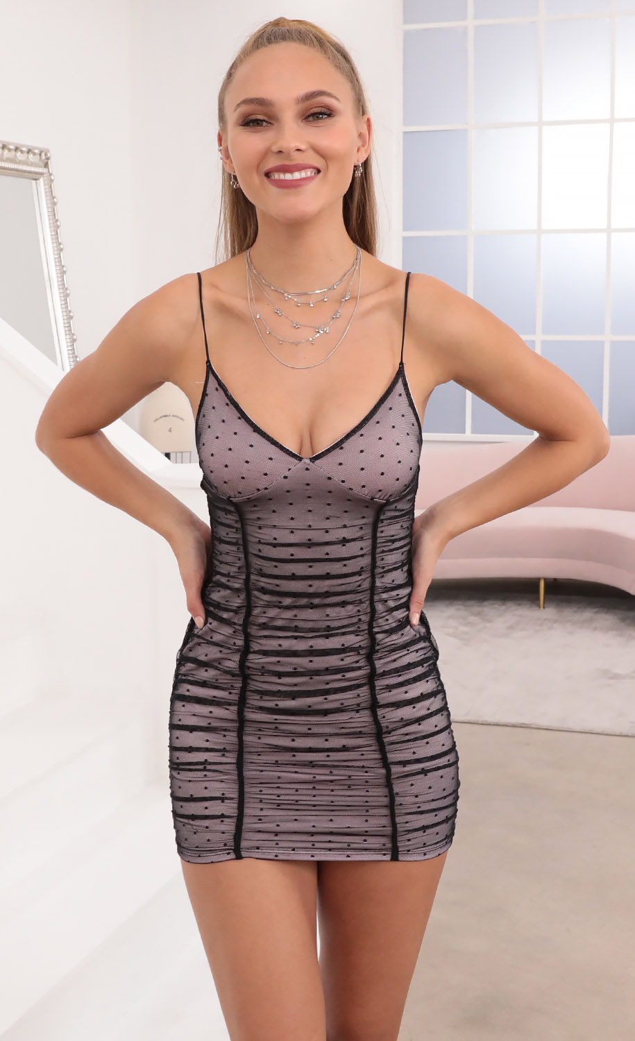 Avriel Ruched Bodycon Dress in Black Mesh