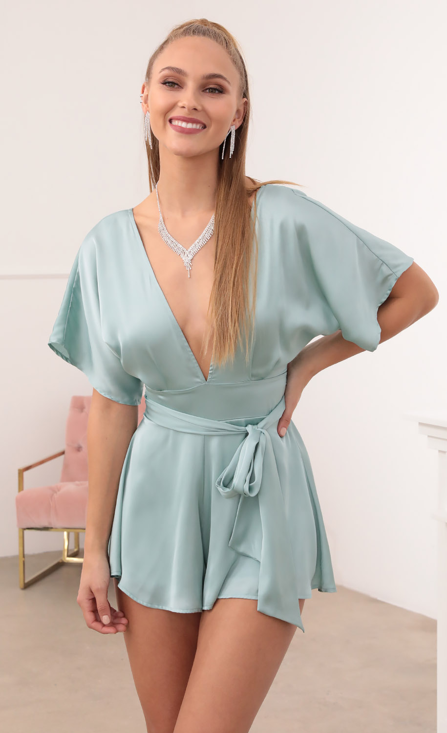 Feeling The Night Satin Romper in Teal