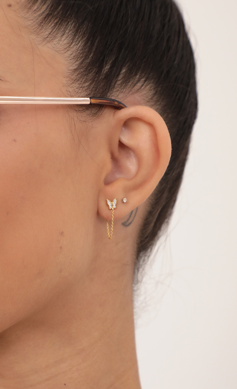 Pave Butterfly Chain Stud Earring in Gold
