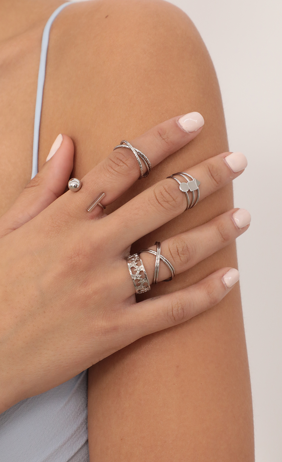 Multi Set Ring in Silver