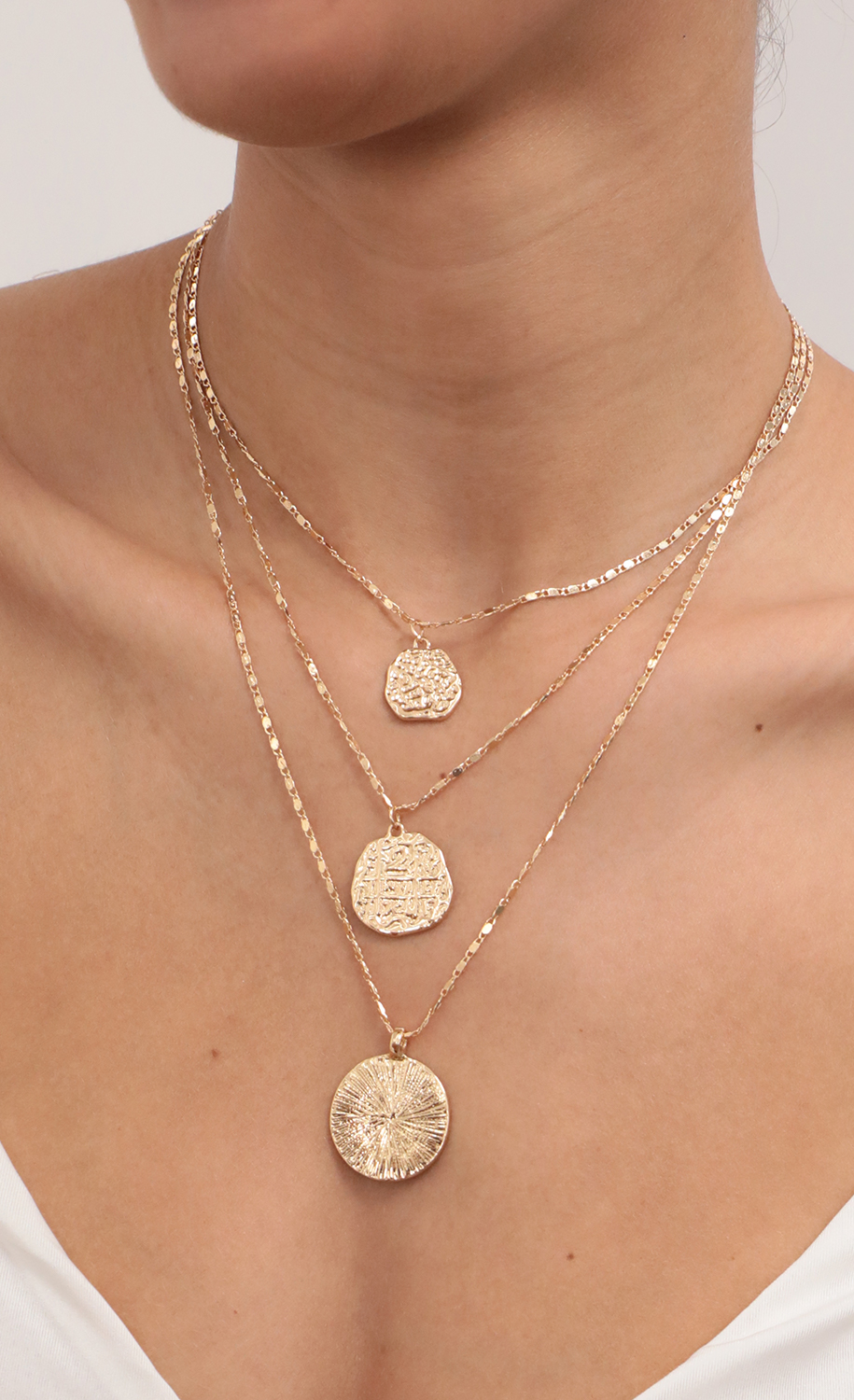 Multi Layered Chain Necklace With Coin Pendant