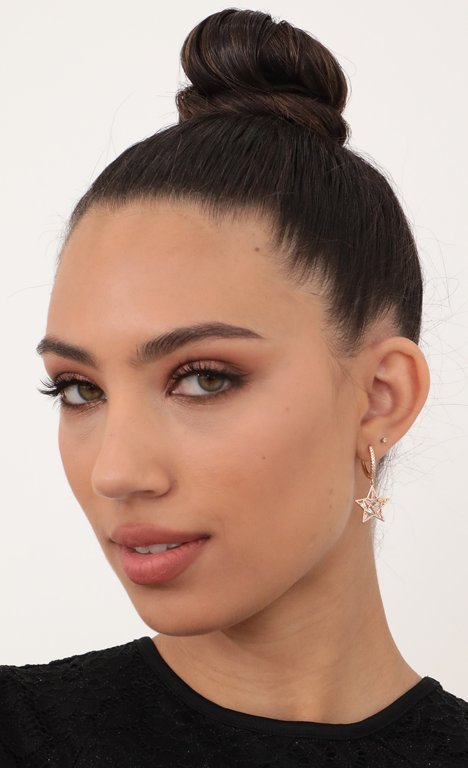 Embellished Star Pave Hoop Earrings