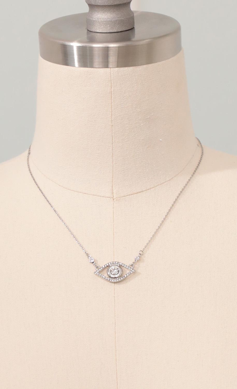 Crystal Evil Eye in Silver