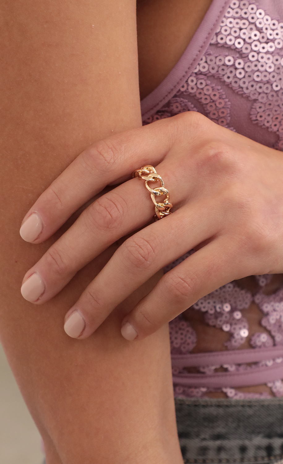 Cuban Bold Link Ring in Gold