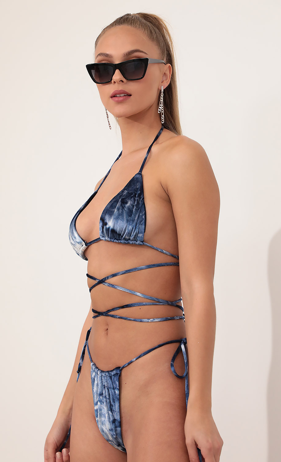 Cabo Tie Around  Bikini Set in Indigo Tie Dye
