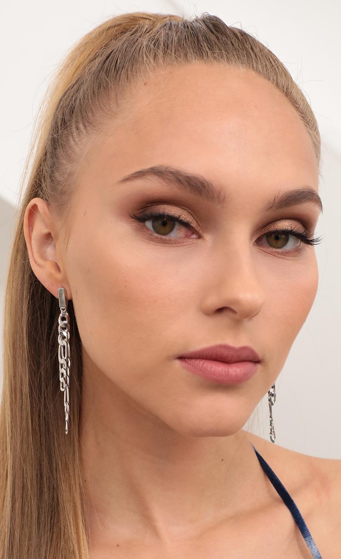 Long Chain Link Post Earrings in Silver