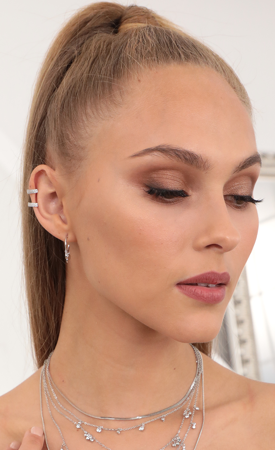 Pave Double Ear Cuff in Silver