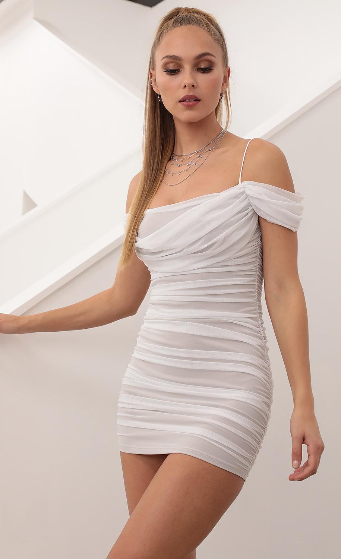 Natasha Off the Shoulder Mesh Bodycon Dress in White