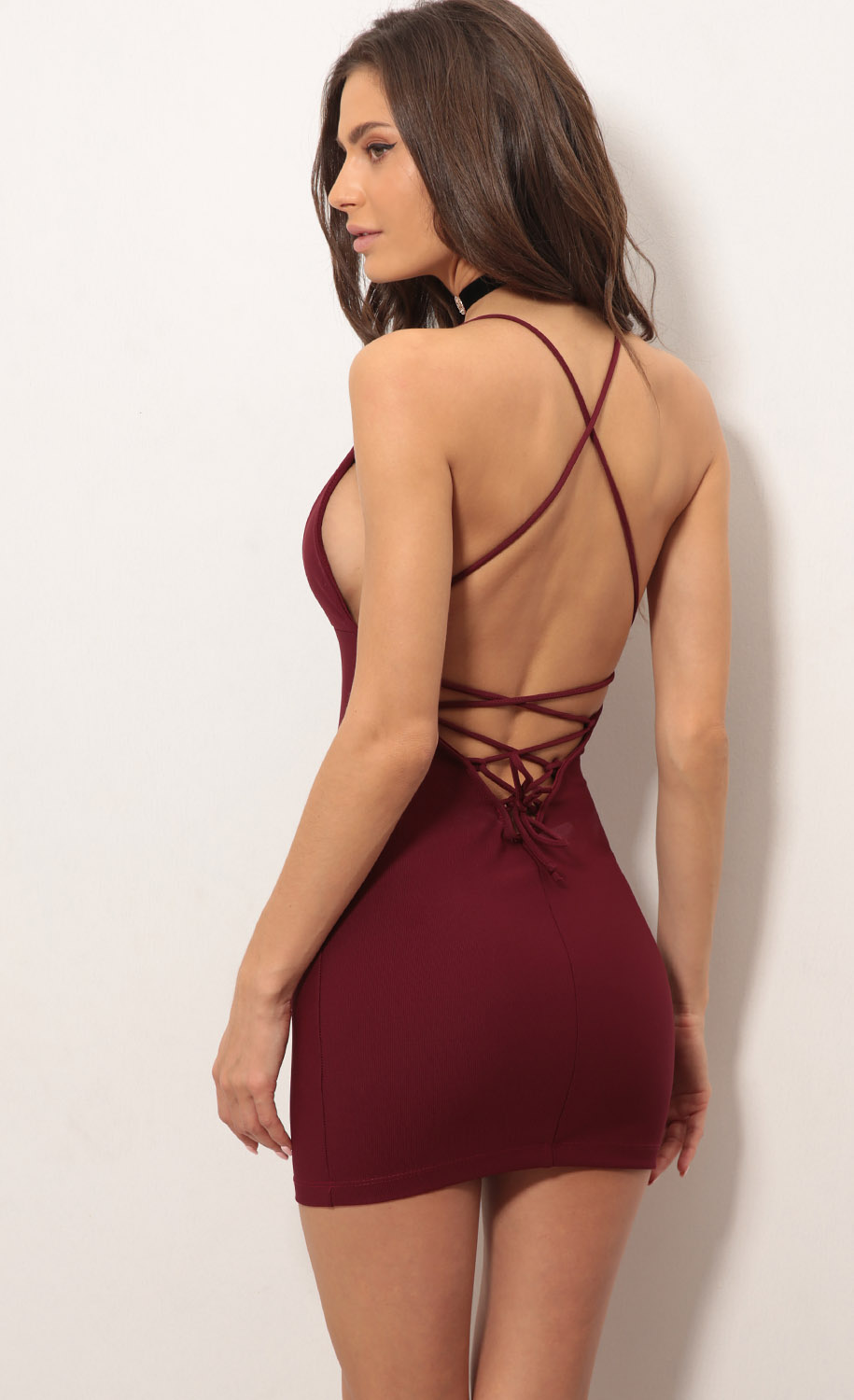 Lace Back Bodycon Dress In Burgundy