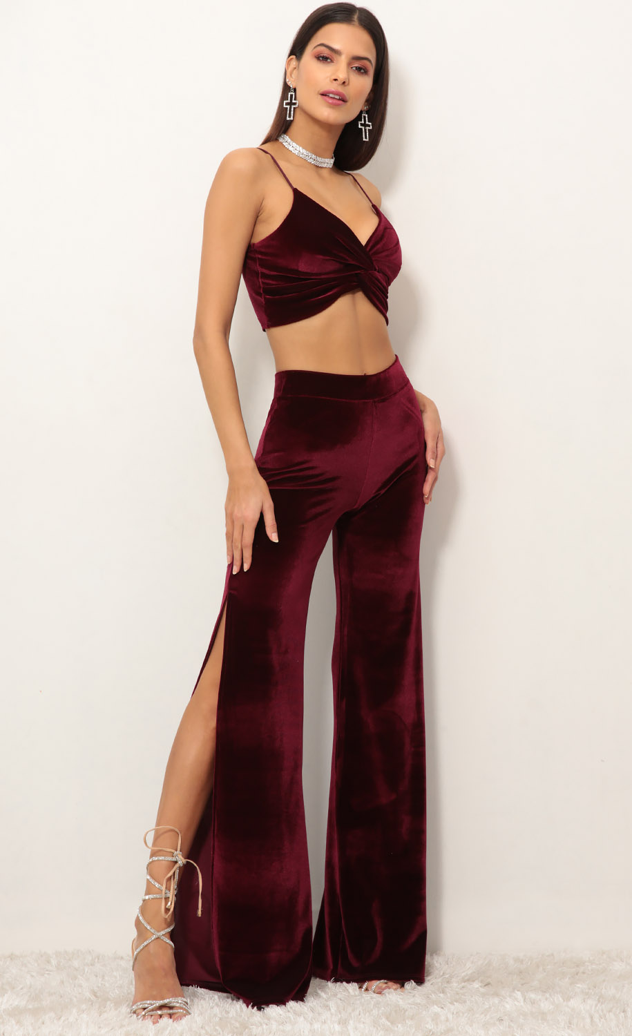 Manhattan Velvet Luxe Set in Wine