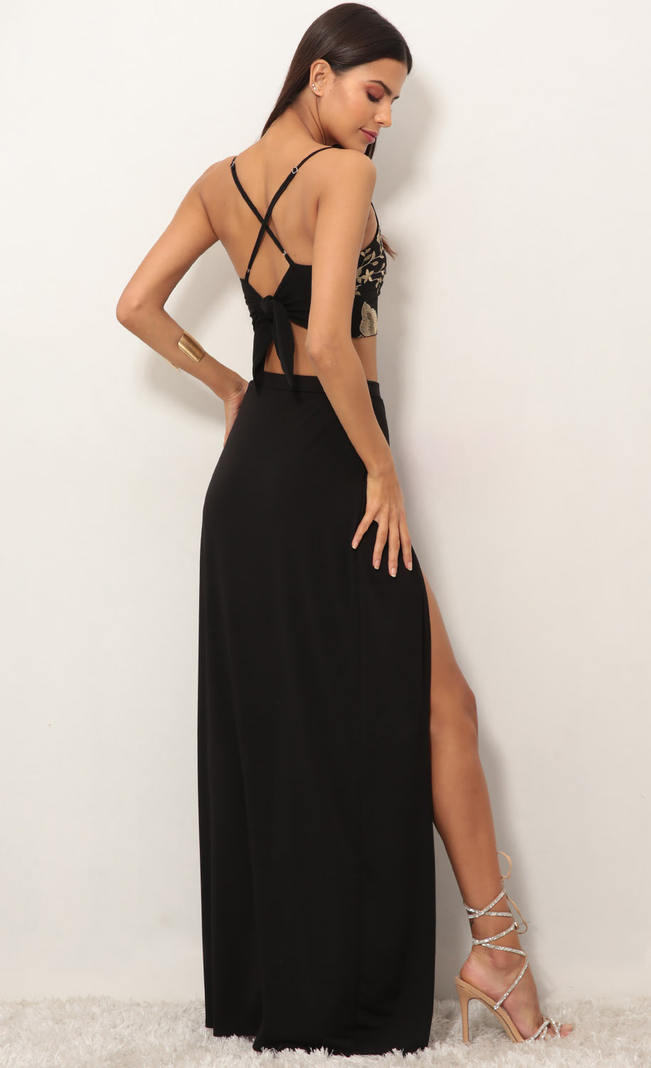 Rome Gold Lace Maxi Set in Black