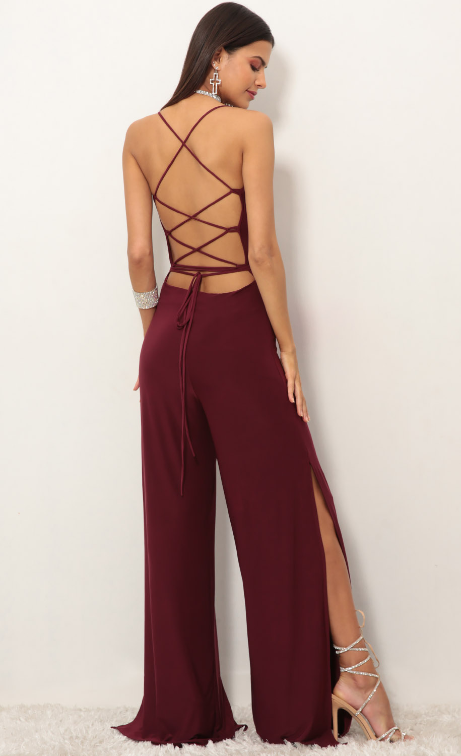 Eliana Cowl Neck Jumpsuit in Burgundy
