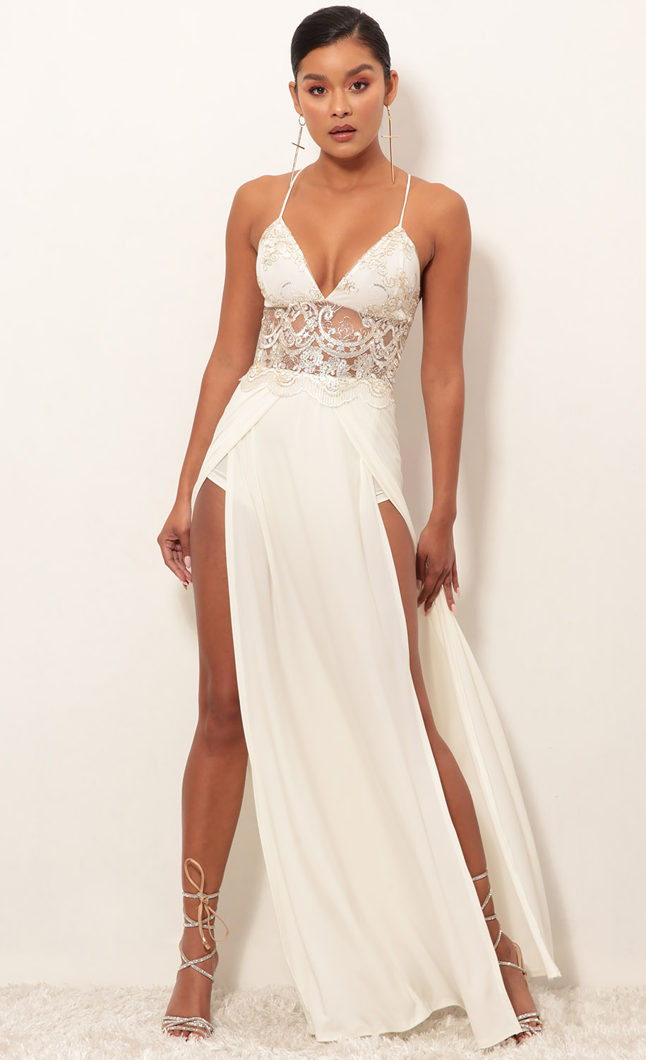 Tulum Lace Maxi Dress in Ivory Gold