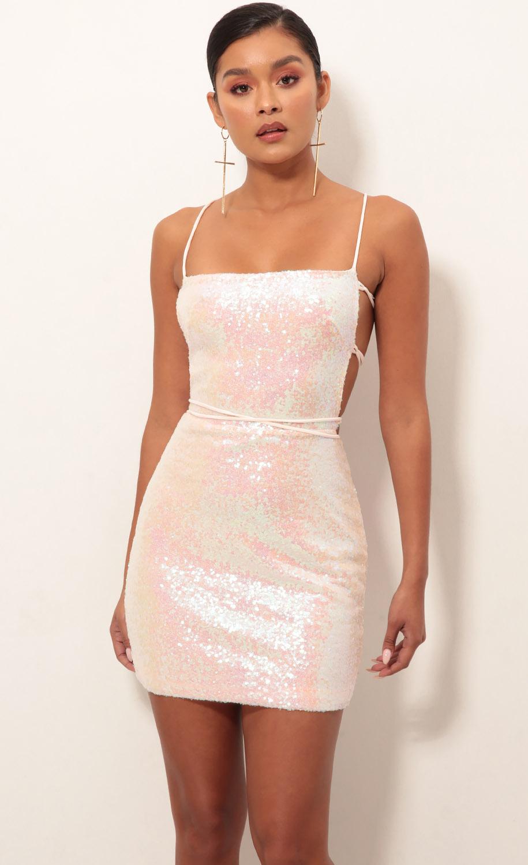 Eli Party Sequin Dress in Pink Iridescent
