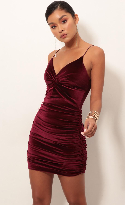 Talia Front Twist Dress in Wine Velvet