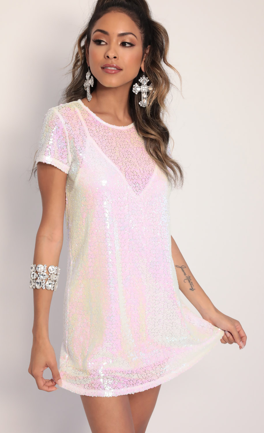 Party Sequin Shift Dress in White Iridescence
