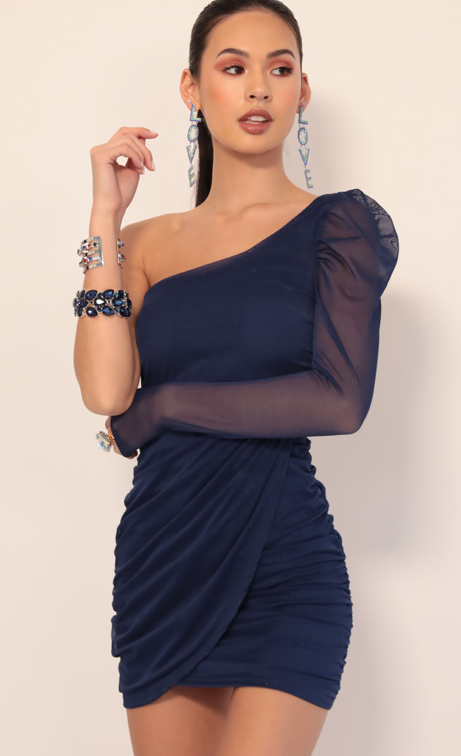 Larissa Puff Sleeve Mesh Dress in Navy