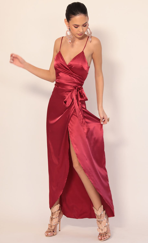 Joelle Pleated Satin Maxi Dress in Merlot
