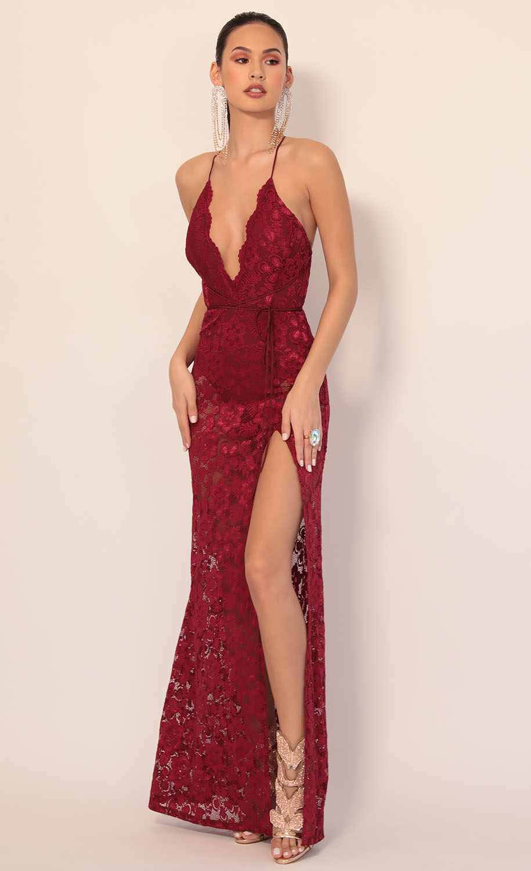 Daniela Plunge Lace Maxi Dress in Wine