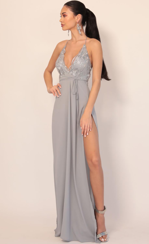Daniela Silver Lace Plunge Maxi in Grey