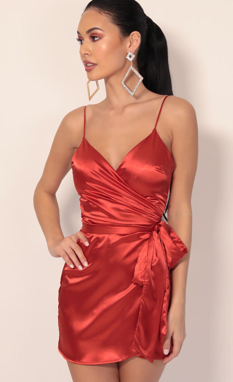 Joelle Pleated Satin Wrap Dress in Rust