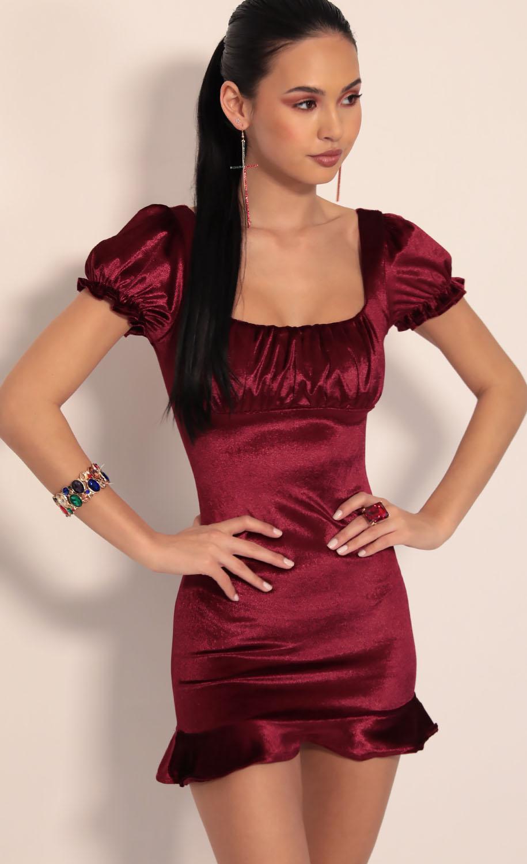 Kristina Puff Sleeve Velvet Dress in Burgundy