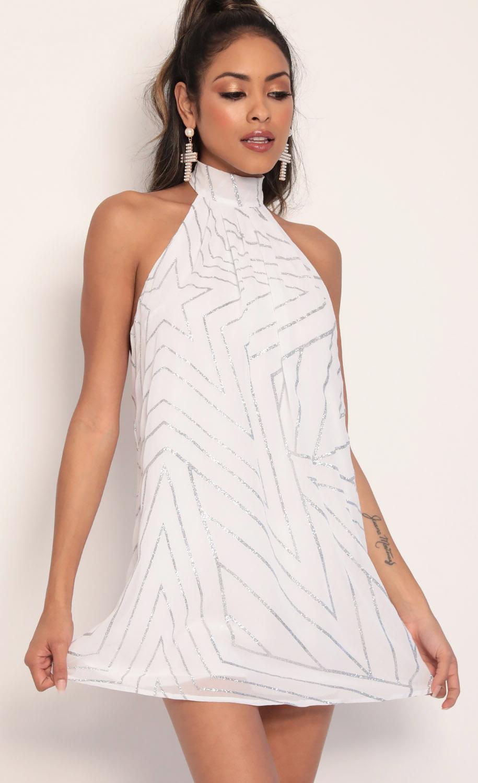 Midnight Halter Dress in White Starlight