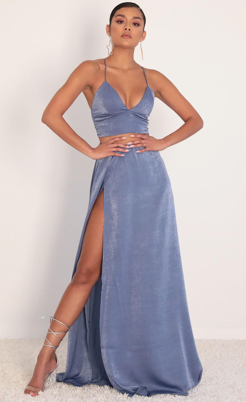 Madeline Satin Maxi Set in Palace Blue