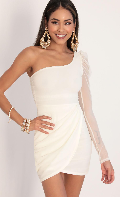 Larissa Puff Sleeve Mesh Dress in Ivory