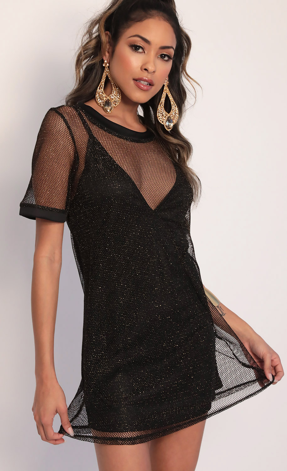 Sparkling Gold Shift Dress in Black