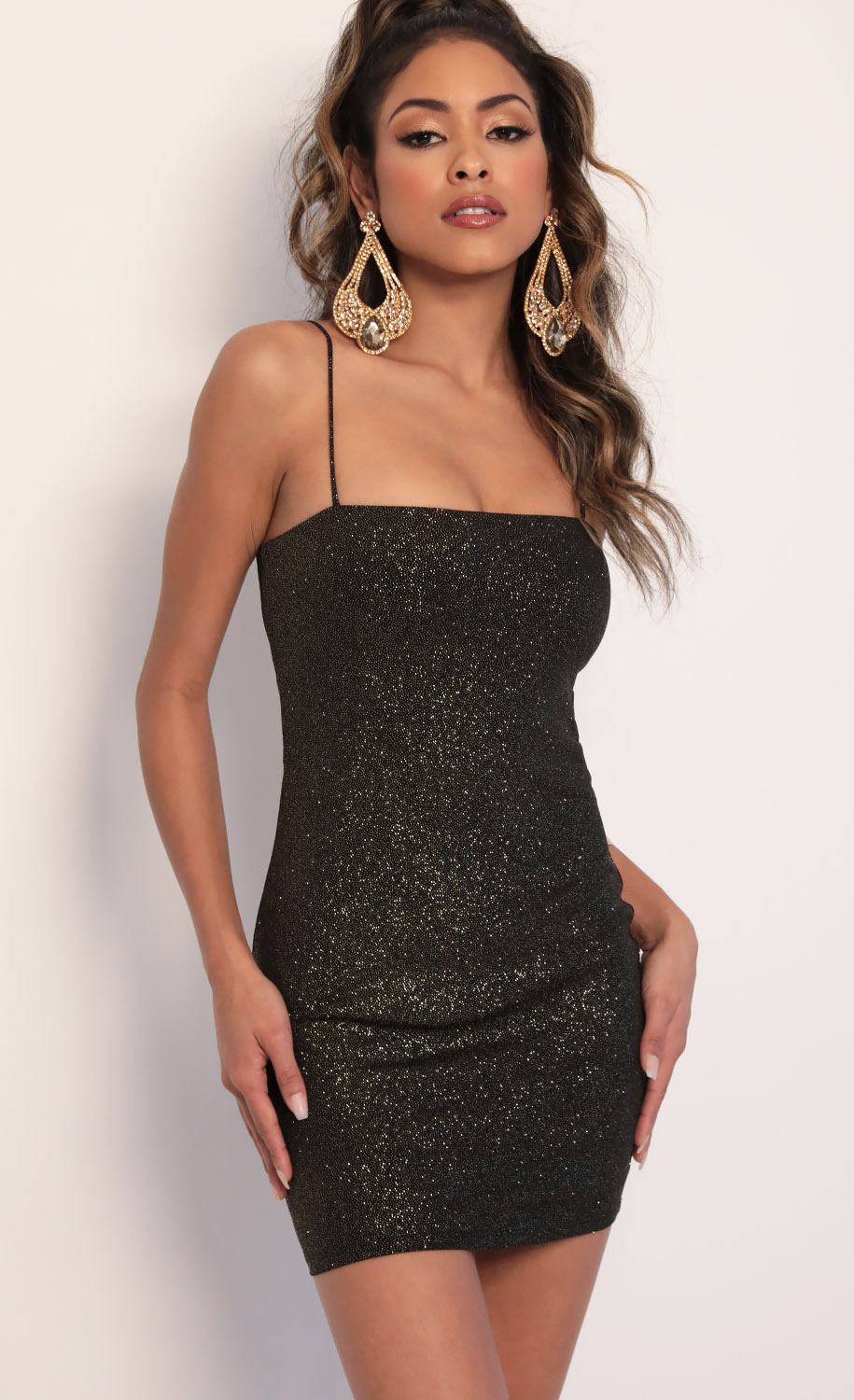 Raya Sparkling Tie-back Dress in Black Gold