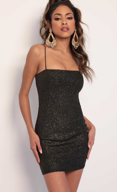 Raya Sparkling Tie-back Dress in Black Gold