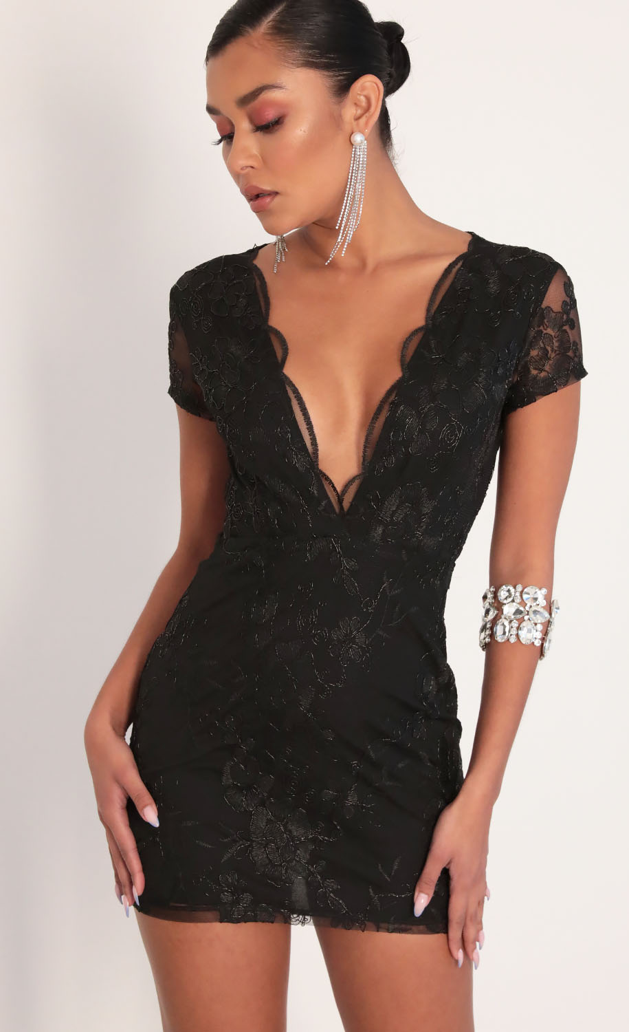 Lani Sequin Plunge Lace Dress in Black