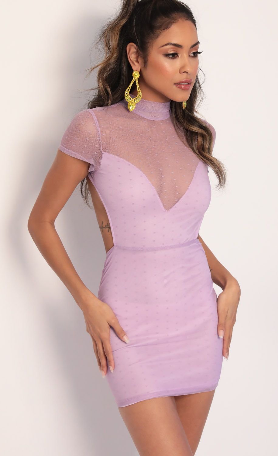 Callie Polka Dot Mesh Dress in Lilac