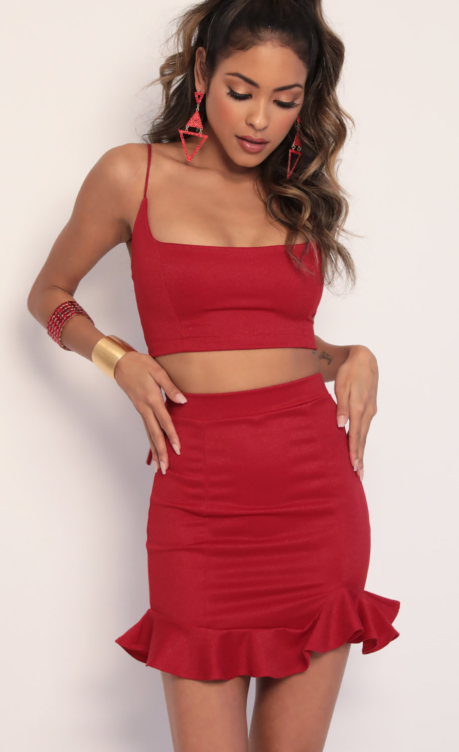 Monroe Ruffle Set in Red