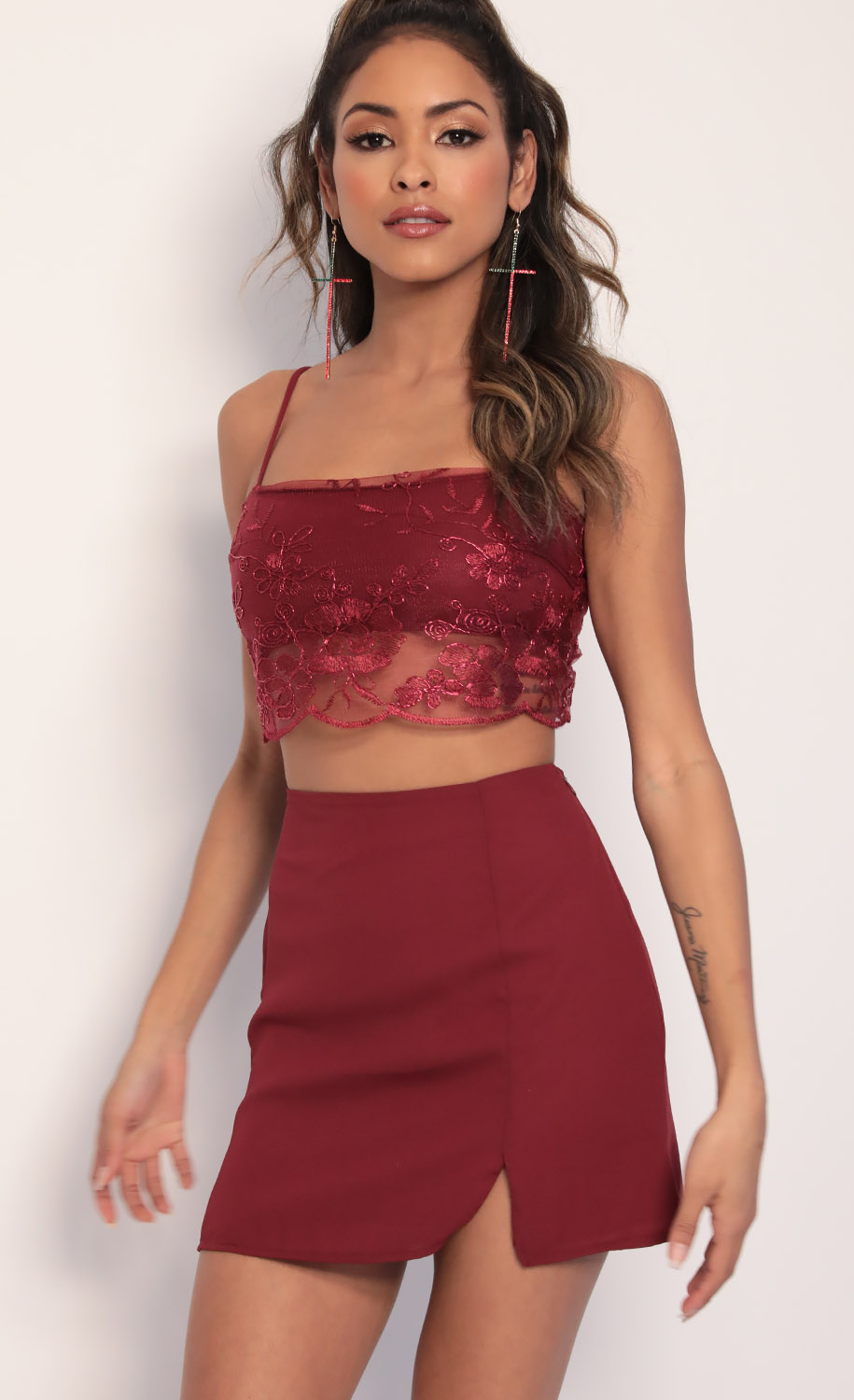 Divine Gold Embroidered Lace Set in Merlot