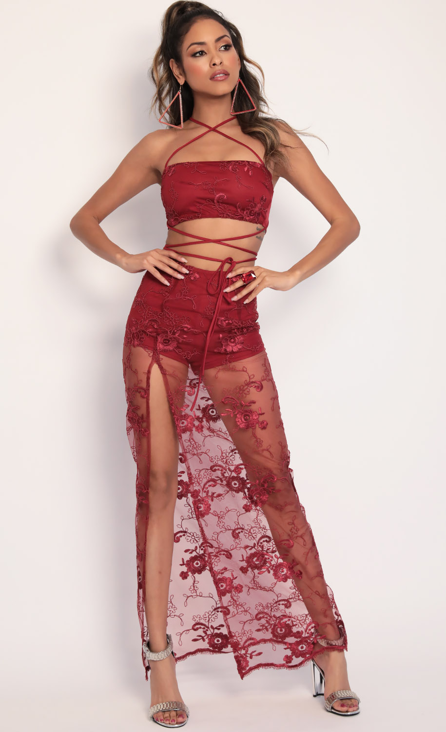 Boho Floral Lace Maxi Set in Merlot