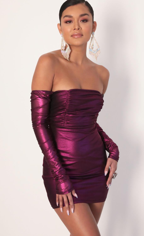 Brenna Off Shoulder Mesh Dress in Fuchsia