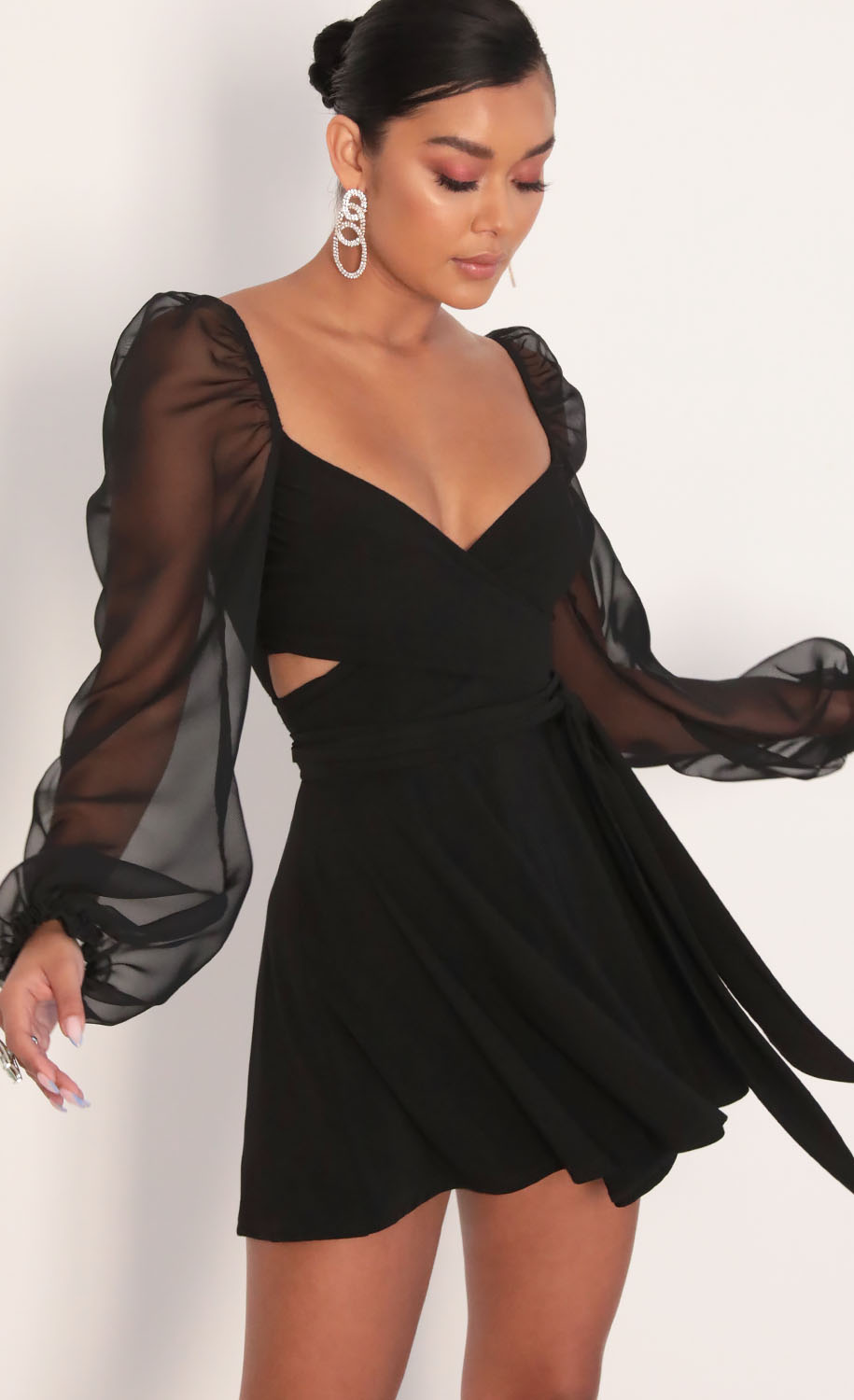 Aliah Puff Chiffon Wrap Dress in Black