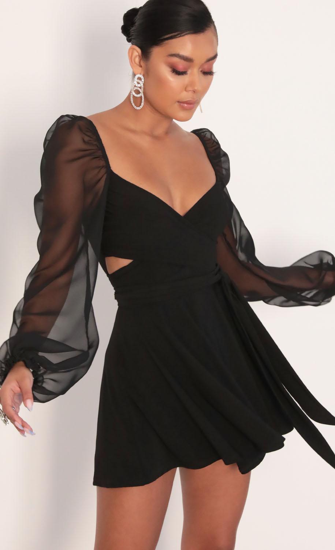 Aliah Puff Chiffon Wrap Dress in Black
