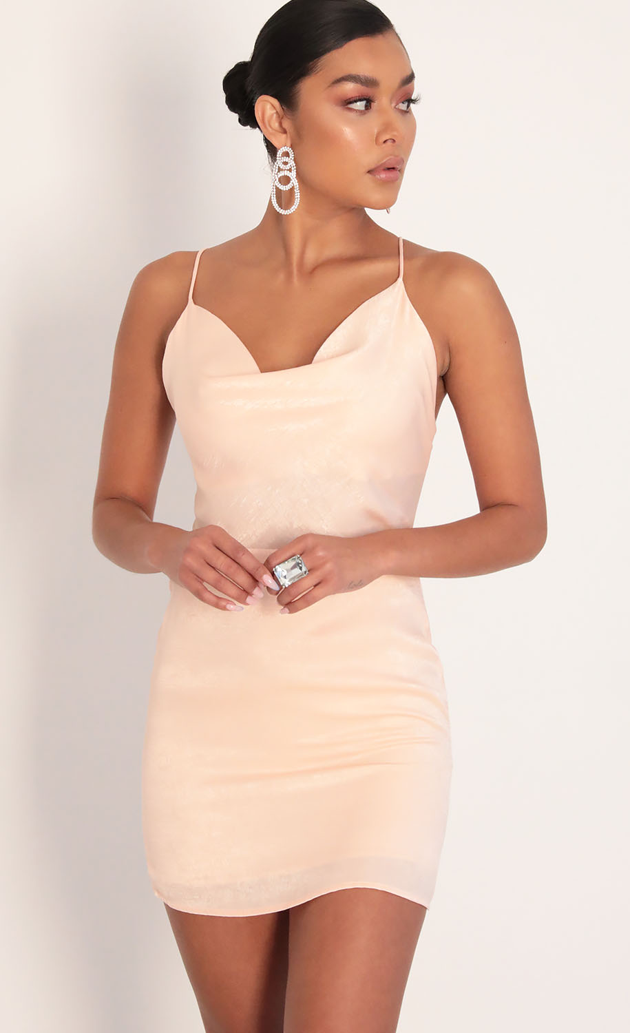 Sunkissed Satin Cowl Neck Dress in Blush
