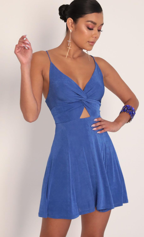 Adalee Front Twist Dress in Royal Blue