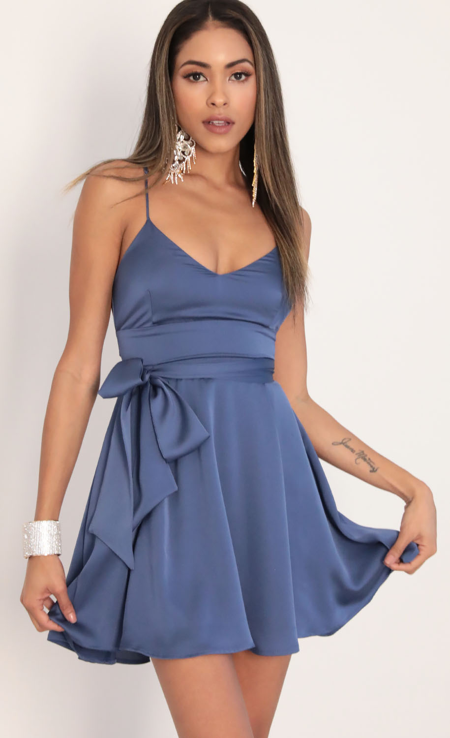 Quinn Satin Tie A-line Dress in Palace Blue