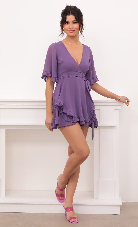 Brittany Ruffle Dress in Purple