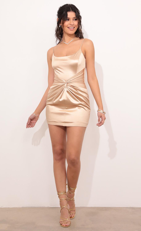 Kiana Draped Front Dress in Champagne